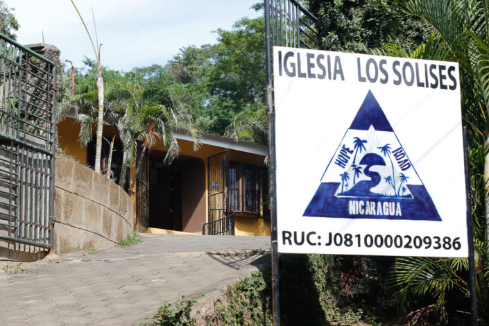 Building and sign for the church plant in Los Solices community